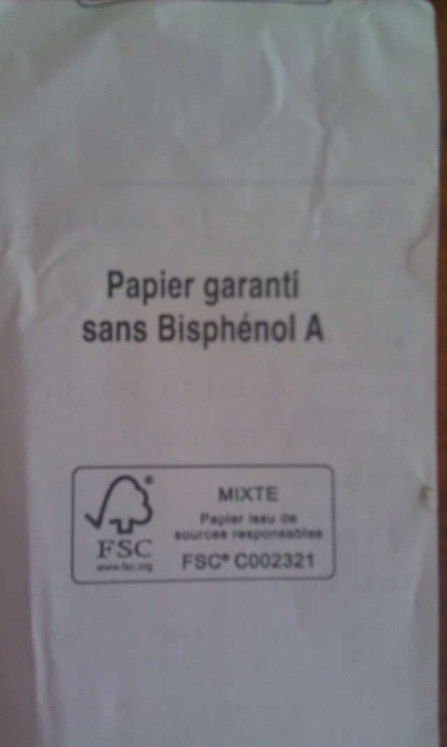 Verso du ticket de caisse Breakfast in America, papier garanti sans bisphénol A [Back of the sales receipt Breakfast in America, paper guaranteed without bisphenol A]