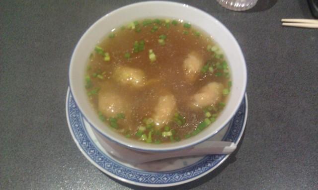 Soupe de raviolis au porc (Wan Tang) [Soup with pork dumplings (Wan Tang)]