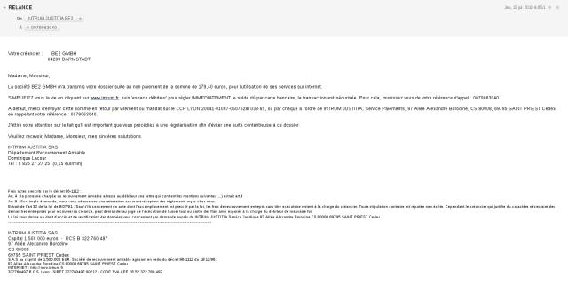 courriel de relance d'INTRUM JUSTITIA [follow-up email of INTRUM JUSTITIA]