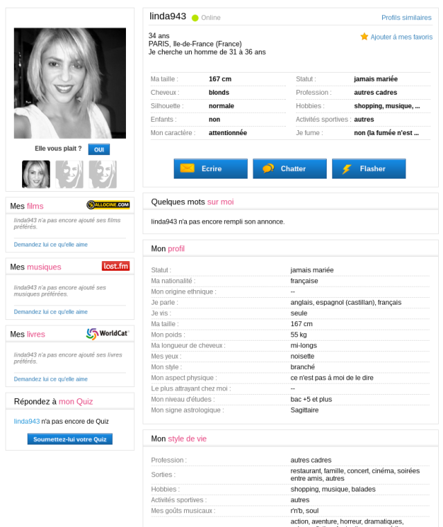 Faux profil de Shakira sur Meetic [Shakira's fake profile on Meetic]
