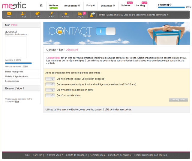 filtre de contact Meetic [Meetic contact filter]