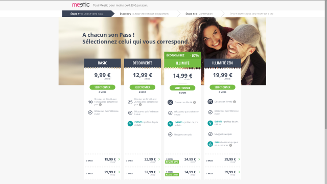 Tarifs du pass Meetic en 2017 [Meetic pass rates in 2017]
