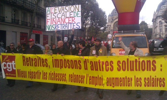 Retraites, imposons d'autres solutions : Mieux répartir les richesses, relancer l'emploi, augmenter les salaires, CGT 75 [Pensions, let us impose some other solutions: better distribute the wealth, boost the employment, increase salaries, CGT 75]