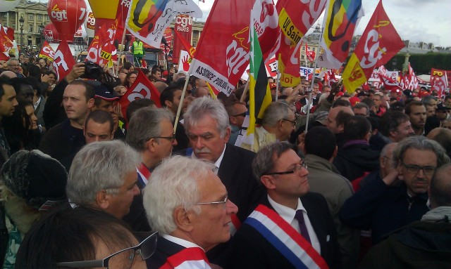 Pierre Laurent, sénateur PCF et André Chassaigne, député PCF [Pierre Laurent, senator PCF and André Chassaigne, deputy PCF]