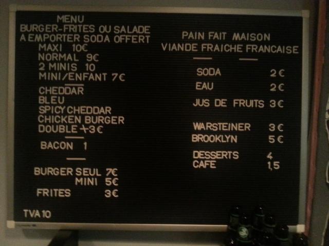Tarifs du restaurant français Starvin' Joe [Rates of the French restaurant Starvin' Joe]