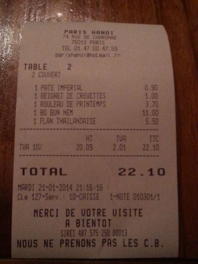 Ticket de caisse du restaurant Paris Hanoï [sales receipt of the restaurant Paris Hanoi]