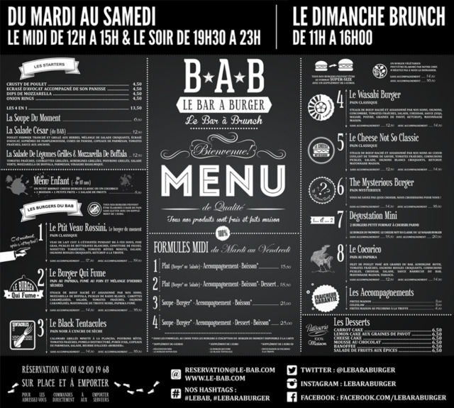 Carte du restaurant Le BAB (bar à burger) à Paris [Board of the restaurant Le BAB (burger bar) in Paris]