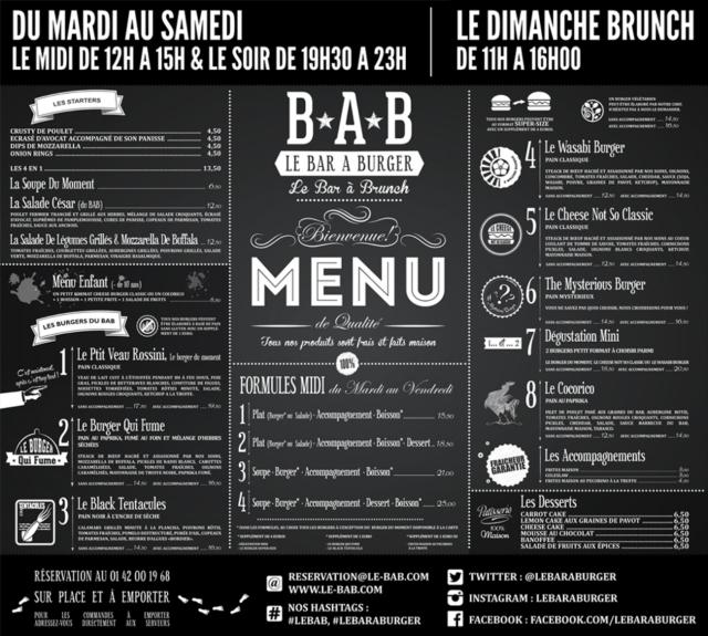 Carte du restaurant Le BAB (bar à burger) à Paris [Board of the restaurant Le BAB (burger bar) in Paris]