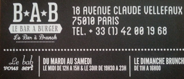 Horaires du bar à burger [Timetables of the burger bar]