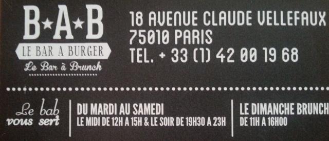 Horaires du bar à burger [Timetables of the burger bar]