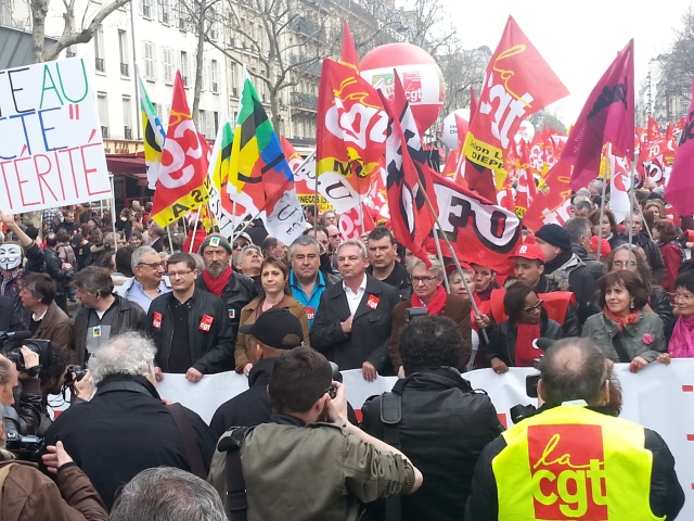 Tête de cortège avec Thierry Lepaon (CGT), Jean-Claude Mailly (FO), Annick Coupé (Solidaires) et Bernadette Groison (FSU) [Head of the march with Thierry Lepaon (CGT), Jean-Claude Mailly (FO), Annick Coupé (Solidaires) et Bernadette Groison (FSU)]