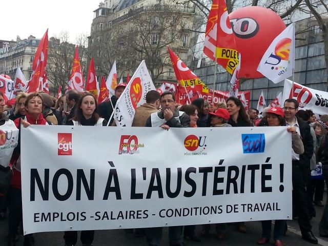 Non à l'austérité, CGT, FO, SUD, FSU [No to austerity, CGT, FO, SUD, FSU]