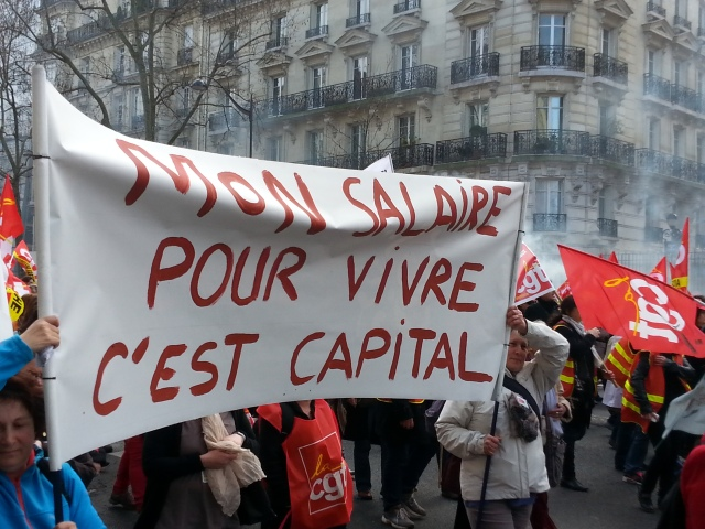 Mon salaire pour vivre c'est capital [My wage is very important to live]