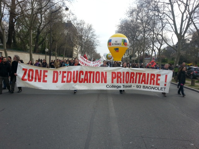 Zone d'éducation prioritaire, collège travail 93 Bagnolet [Priority education zone, vocational school 93 Bagnolet]