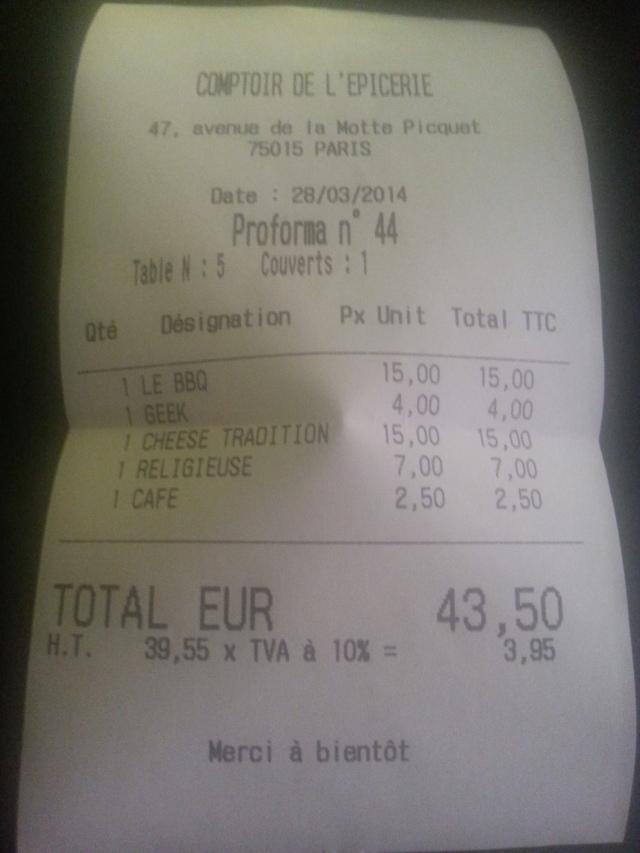Ticket de caisse du restaurant Le comptoir de l'épicerie du Père Claude [Sales receipt of the restaurant Le comptoir de l'épicerie du Père Claude]