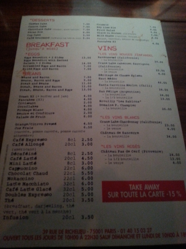Tarifs du restaurant Have A Nice Day [Rates of the restaurant Have A Nice Day]