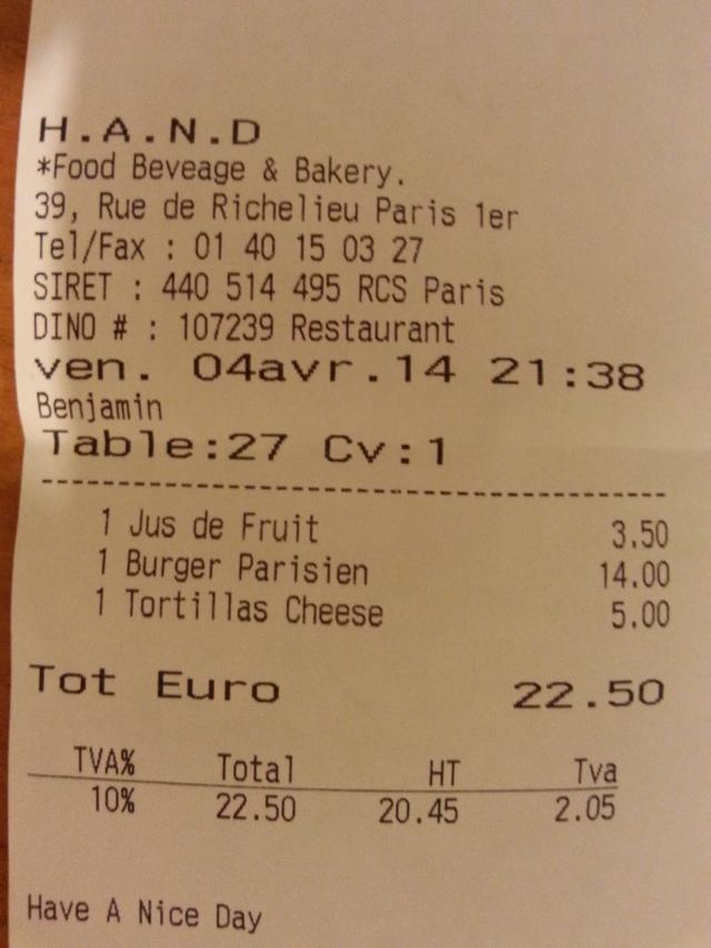Ticket de caisse du restaurant Have A Nice Day [Sales receipt of the restaurant Have A Nice Day]