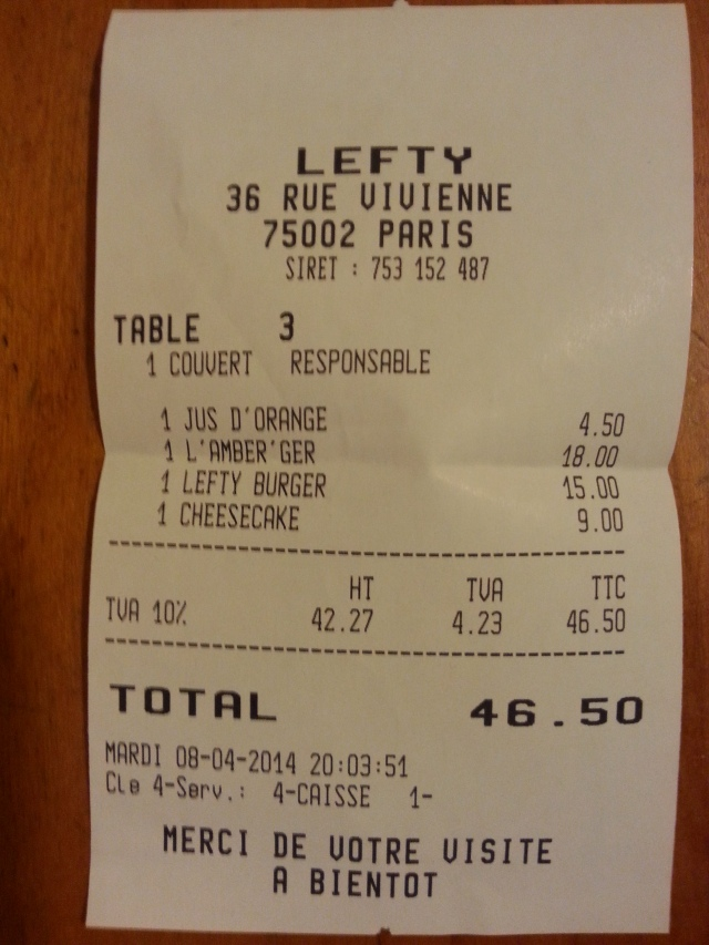 Ticket de caisse du restaurant Lefty [Sales receipt of the restaurant Lefty]