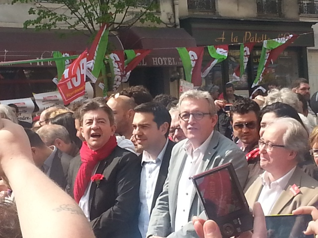 Jean-Luc Mélenchon (PG), Alexis Tsipras (Syriza), Pierre Laurent (PCF) et Christian Picquet (GU) [Jean-Luc Mélenchon (PG), Alexis Tsipras (Syriza), Pierre Laurent (PCF) and Christian Picquet (GU)]