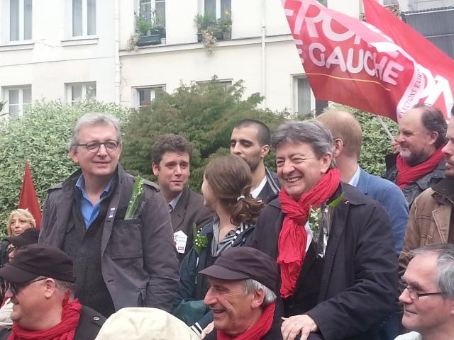 Pierre Laurent (Parti communiste français) et Jean-Luc Mélenchon (Parti de gauche) [Pierre Laurent (French communist party) and Jean-Luc Mélenchon (Left-wing party)]