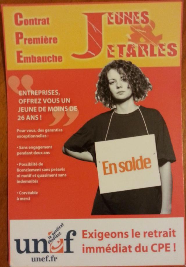 Affiche de l'UNEF contre le contrat première embauche [Poster of the UNEF against the first employment contract]