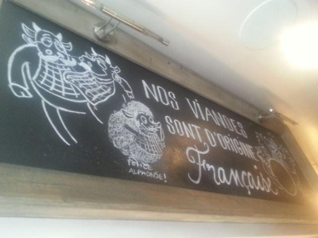 Viande d'origine française au restaurant Big Fernand [Meat of French origin in the restaurant Big Fernand]