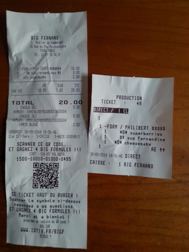 Ticket de caisse du restaurant Big Fernand [Sales receipt of the restaurant Big Fernand]