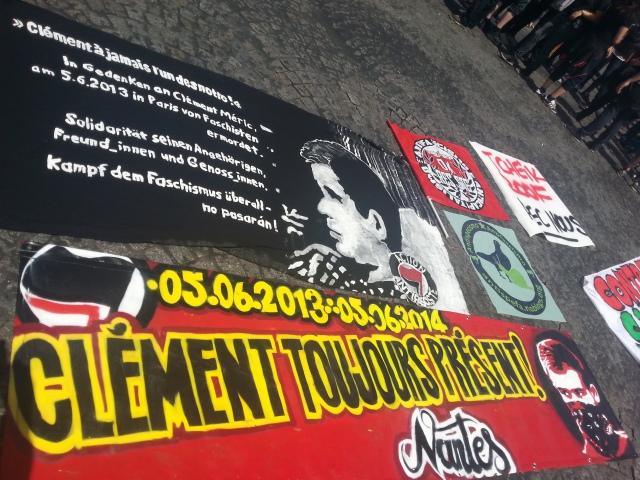 Clément toujours présent, action antifasciste Nantes [Clément ever present, antifascist action Nantes]