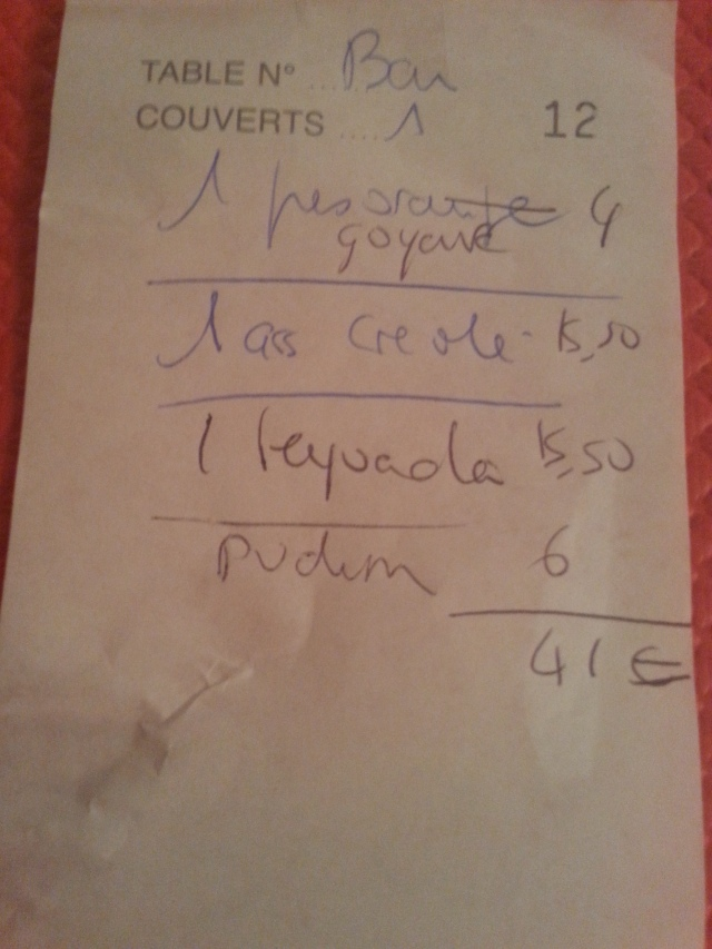 Ticket de caisse du restaurant brésilien La taverne [Sales receipt of the Brazilian restaurant La taverne]
