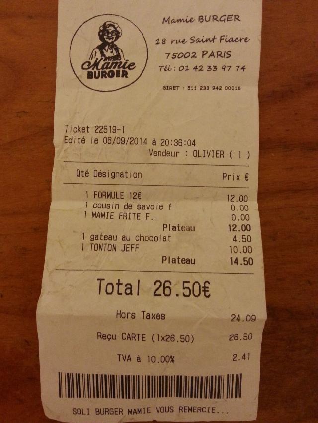Ticket de caisse du restaurant français Mamie Burger [Sales receipt of the French restaurant Mamie Burger]