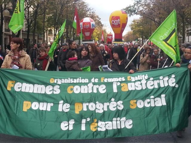 Femmes contre l'austérité, pour le progrès social et l'égalité, organisation de femmes égalité [Women against austerity, for the social progress and equality, women's organization equality]