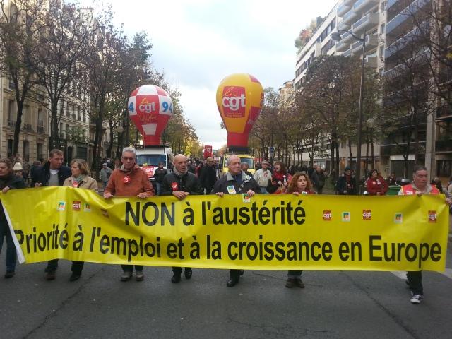 Non à l'austérité, priorité à l'emploi et la croissance en Europe, CGT et FSU [No to austerity, priority to employment and growth in Europe, CGT and FSU]