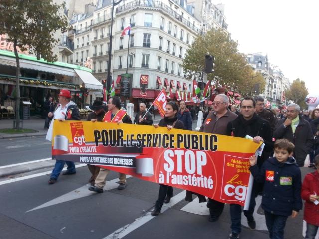 Stop à l'austérité, CGT services publics [Stop the austerity, CGT public utilities]