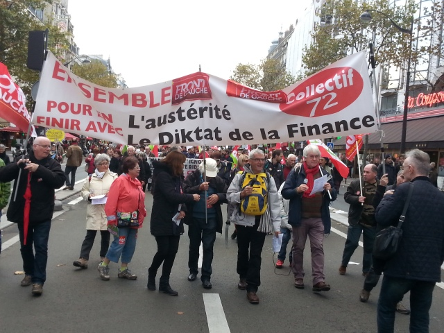 Pour en finir avec le l'austérité et le diktat de la finance, front de gauche 72 [To end up with austerity and the diktat of finance, left-wing front 72]
