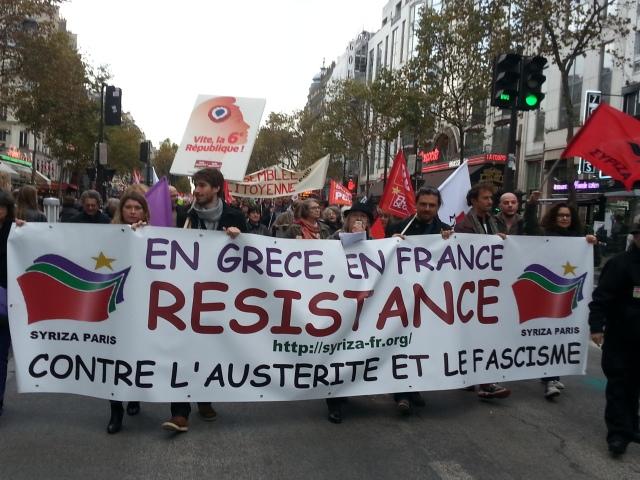 En Grèce, en France, résistance contre l'austérité et le fascisme, Syriza Paris [In Greece, in France, resistance against austerity and fascism, Syriza Paris]
