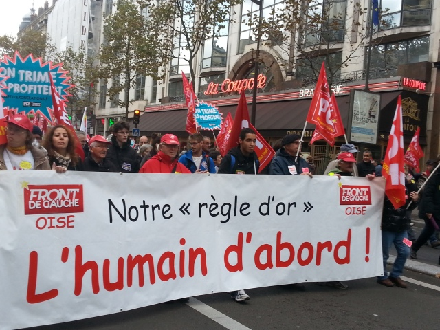 Notre règle d'or, l'humain d'abord, front de gauche oise [Our golden rule, the human being first, left-wing front oise]