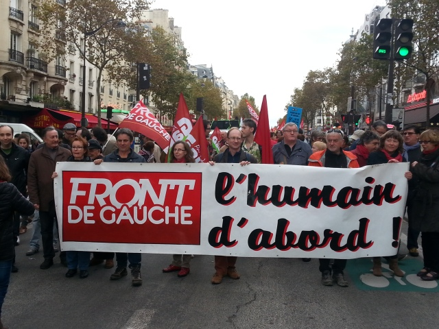 L'humain d'abord, front de gauche [The human being first, left-wing front]