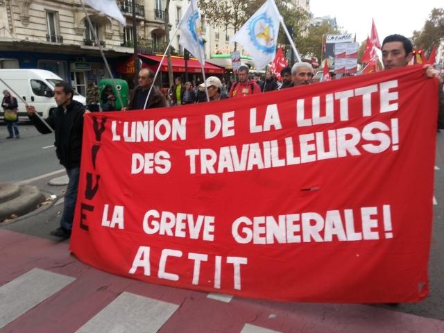 Vive l'union de la lutte des travailleurs et la grève générale, ACTIT [Long life to the union of workers' struggle and the general strike, ACTIT]