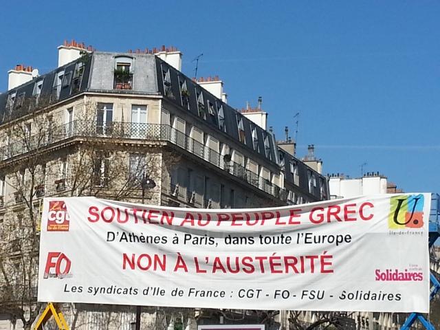 Soutien au peuple grec. D'Athènes à Paris, non à l'austérité [Support of the Greek people. From Athens to Paris, throughout Europe, no to austerity]