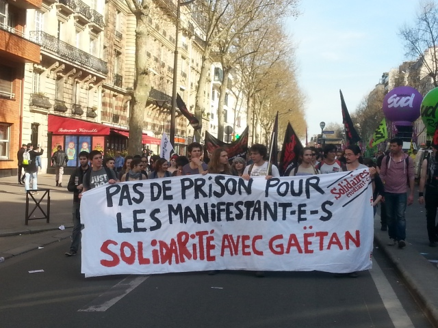 Pas de prison pour les manifestants, solidarité avec Gaëtan, SUD étudiant [No jail for the protesters, solidarity with Gaetan, SUD Student]