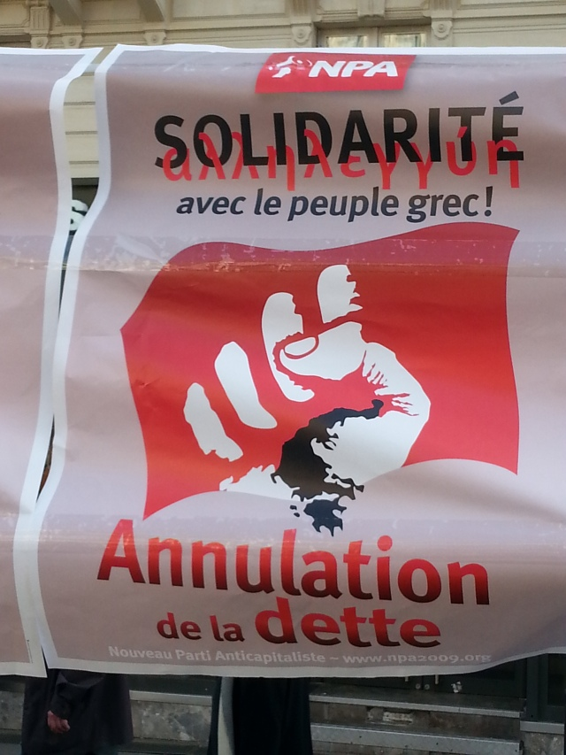 Solidarité avec le peuple grec, annulation de la dette, NPA [Solidarity with the Greek people, cancellation of the debt, NPA]