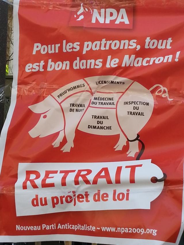 Pour les patrons, tout est bon dans le Macron, retrait du projet de loi, NPA [For the employers, everything is good in the Macron, cancellation of the project of law, NPA]