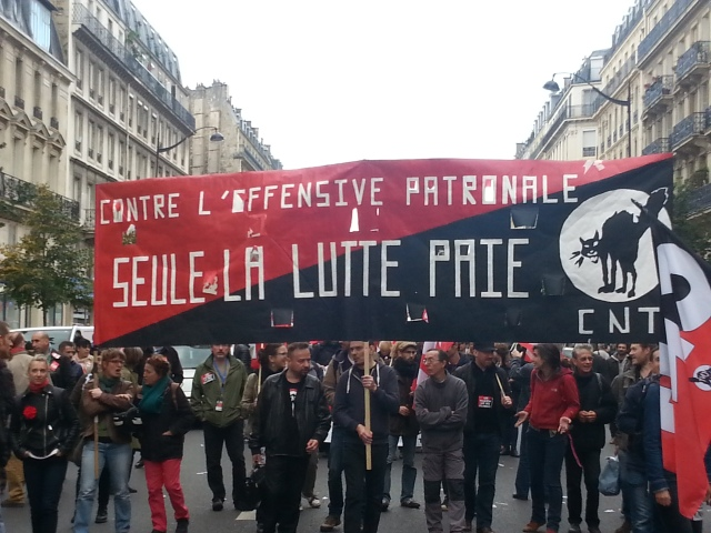 Contre l'offensive patronale, seule la lutte paie, CNT [Against the offensive of the employers, only struggle pays, CNT]