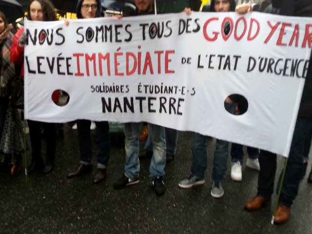 Nous sommes tous des Good Year, levée immédiate de l'état d'urgence, SUD étudiant Nanterre [We are all some Good Year, immediate removal of the emergency state, SUD student Nanterre]