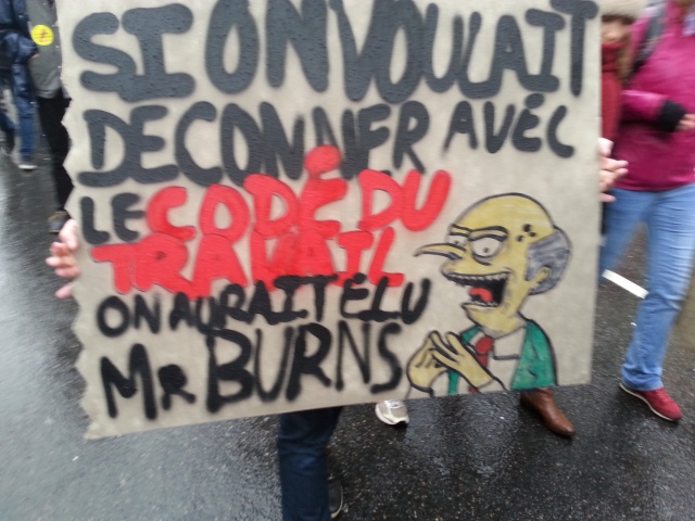 Si on voulait déconner avec le code du travail, on aurait élu M. Burns [If we wanted to mess with the work law, we would have elected Mr Burns]