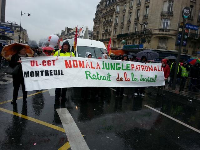 Non à la jungle patronale, retrait de la loi travail, CGT Montreuil [No to the employers' jungle, withdrawal of the 'work' law, CGT Montreuil]