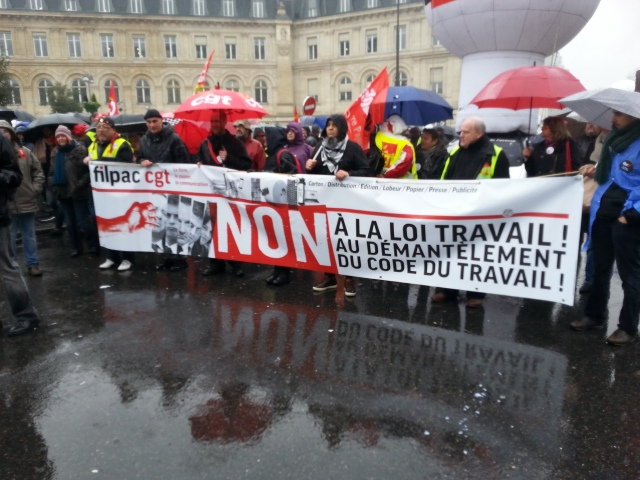Non à la loi travail, non au démantèlement du code du travail, CGT Filpac [No to the 'work' law, no to the dismantling of the work law, CGT Filpac]