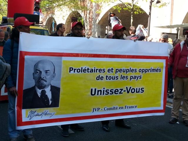 Prolétaires et peuples opprimés de tous les pays, unissez-vous, JVP [Proletarians and oppressed peoples of all countries, unite, JVP]