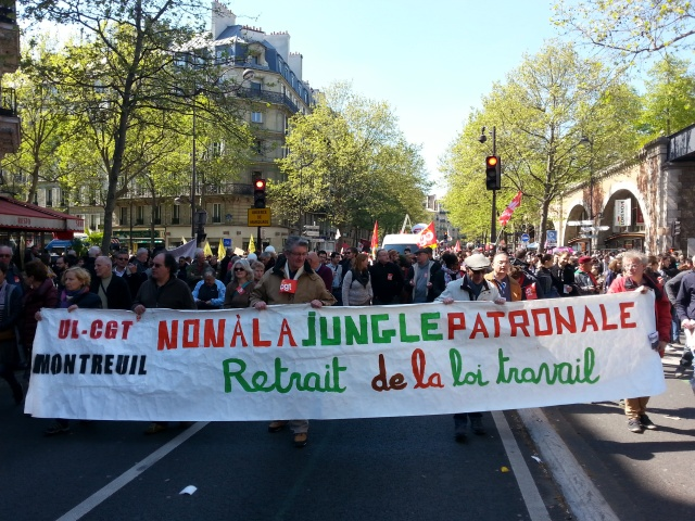 Non à la jungle patronale, retrait de la loi El Khomri, UL CGT Montreuil [No to the employers' jungle, withdrawal of the El Khomri law, UL CGT Montreuil]