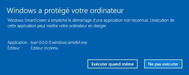 Informations complémentaires de Windows SmartScreen lors de l'installation de TUER [Complementary information of Windows SmartScreen during the install of TUER]